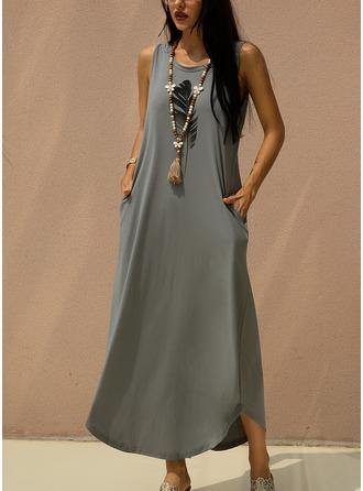 Maxi Round Neck Polyester Print Sleeveless Fashion Dresses