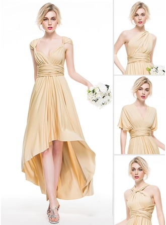 A-Line/Princess Asymmetrical Jersey Bridesmaid Dress With Ruffle