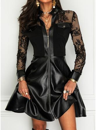 Dantel Solid Bir Çizgi Mâneci Lungi Mini Negre Zarif Patenci Moda Elbiseler