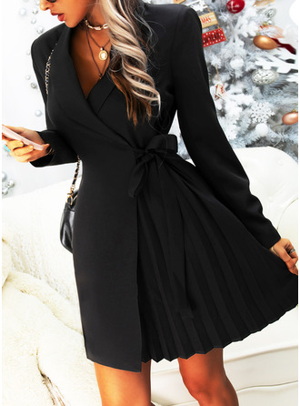 Solid Sheath Long Sleeves Mini Little Black Casual Elegant Wrap Dresses