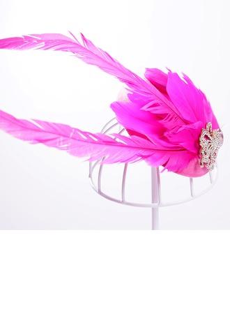 Bayan Şık Yapay elmas/Alaşım/Kuş tüyü Çiçekler ve tüyler