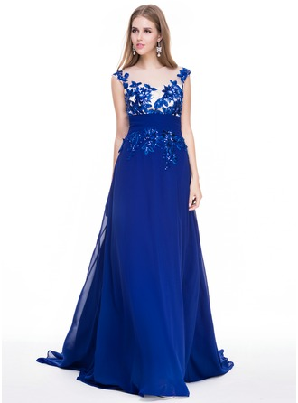 A-Line/Princess Scoop Neck Court Train Chiffon Prom Dress With Ruffle Appliques Lace Sequins