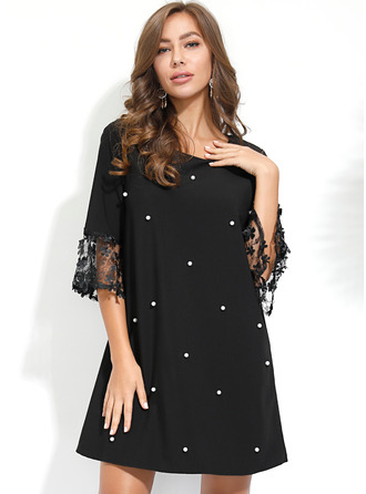 Lace Solid Shift 3/4 Sleeves Mini Casual Elegant Tunic Dresses