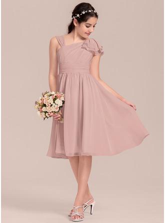 A-Line/Princess V-neck Knee-Length Chiffon Junior Bridesmaid Dress With Cascading Ruffles