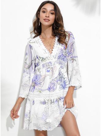 Floral Lace Print Shift 3/4 Sleeves Mini Casual Elegant Tunic Dresses