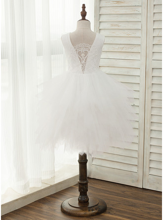 A-Line Knee-length Flower Girl Dress - Tulle/Lace Sleeveless Scoop Neck With Beading/V Back