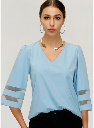 Solid V-Neck 3/4 Sleeves Casual