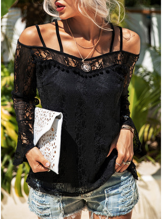 Lace Solid Cold Shoulder Flare Sleeve Long Sleeves Casual