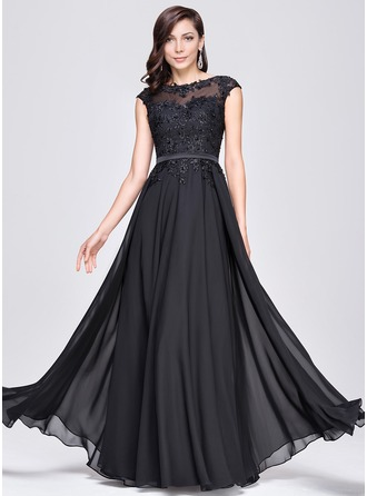 A-Line Scoop Neck Floor-Length Chiffon Evening Dress With Beading Appliques Lace Sequins