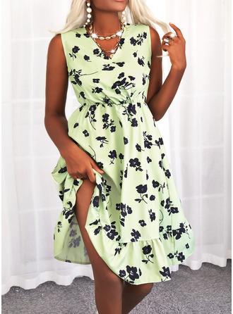Bloemen Print A-lijn-jurk Mouwloos Medium Casual schaatser ()