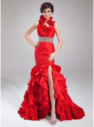 Trumpet/Mermaid Halter Court Train Taffeta Prom Dresses With Beading Split Front Cascading Ruffles