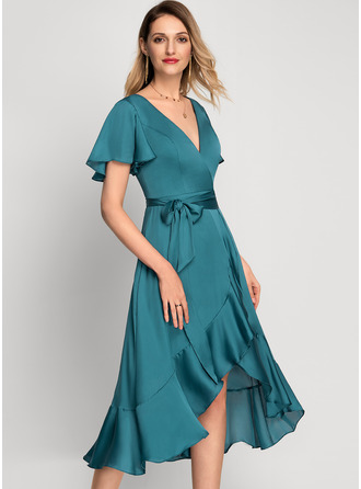 A-line Short Sleeves Asymmetrical Romantic Elegant Dresses