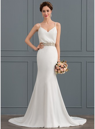 Trumpet/Mermaid V-neck Court Train Satin Wedding Dress With Beading