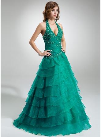 Duchesse-Linie Träger Bodenlang Organza Quinceañera Kleid (Kleid für die Geburtstagsfeier) mit Rüschen Perlen verziert Applikationen Spitze Gestufte Rüschen