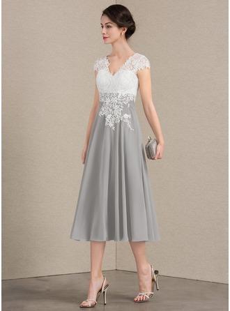 A-Linie/Princess-Linie V-Ausschnitt Wadenlang Chiffon Spitze Kleid für die Brautmutter