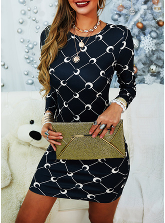 Print Bodycon Long Sleeves Mini Casual Dresses