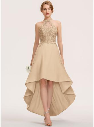 A-Line Halter Asymmetrical Chiffon Lace Bridesmaid Dress
