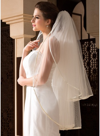 Dos capas Yema del dedo velos de novia con Con lazo