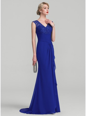 Trumpet/Mermaid V-neck Sweep Train Chiffon Lace Evening Dress With Cascading Ruffles