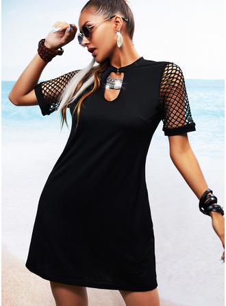 Pevný Síťovina Šaty Shift Krátké rukávy Mini Malé černé Neformální Dovolená Tunika Módní šaty