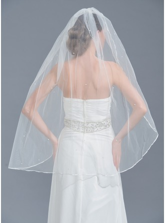 One-tier Pencil Edge Fingertip Bridal Veils With Beading