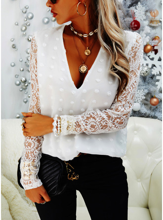 Lace Solid V-Neck Long Sleeves Puff Sleeves Casual Blouses