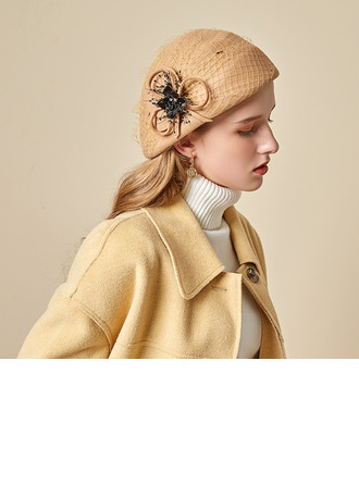 Dames Beau/Simple/Jolie Coton avec Tulle Béret Chapeau