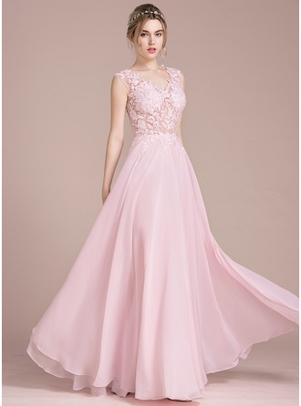 A-Line/Princess V-neck Floor-Length Chiffon Prom Dress