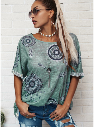 Print Round Neck Short Sleeves Casual