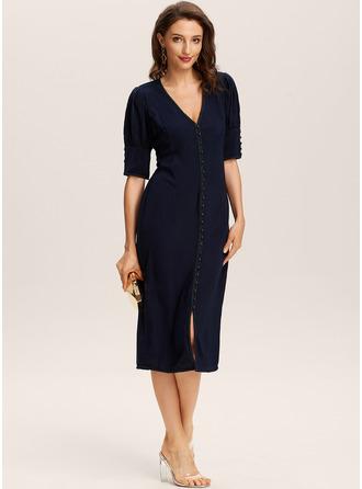 Midi V-ringning polyester Solid Korta ärmar/puffärm Modeklänningar