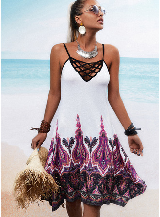 Print Backless Sheath Sleeveless Mini Boho Vacation Type Dresses