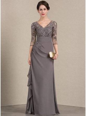 A-Line/Princess V-neck Floor-Length Chiffon Lace Evening Dress With Cascading Ruffles