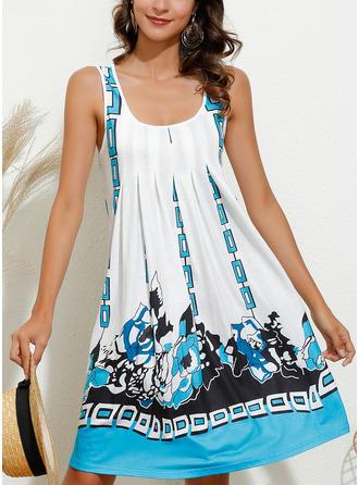 Print Shift Sleeveless Mini Casual Vacation Tank Dresses