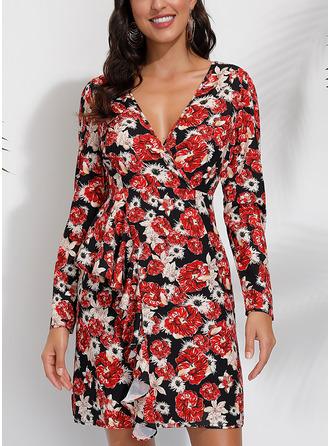 Floral Print Shift Long Sleeves Mini Casual Dresses