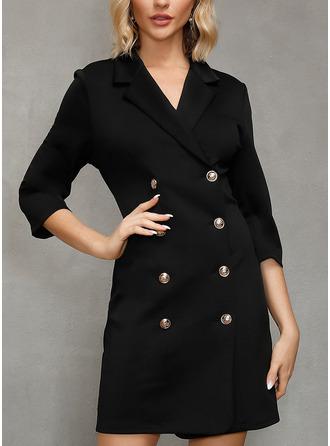 Solid Åtsittande 3/4 ärmar Mini Fritids Modeklänningar