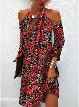Floral Print Shift Cold Shoulder Sleeve Long Sleeves Mini Casual Tunic Dresses