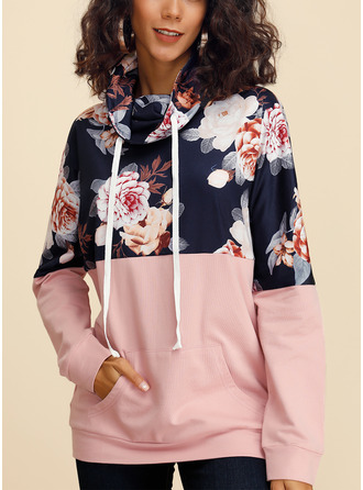 Floral Print High Neck Long Sleeves Casual