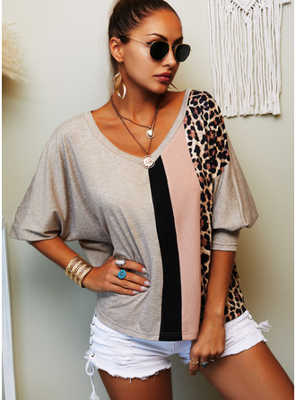 Color Block Print V-Neck Long Sleeves Casual T-shirt