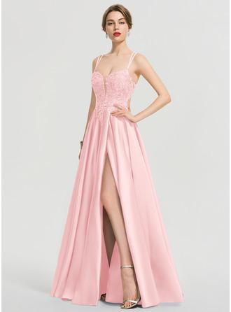 A-Line V-neck Floor-Length Satin Prom Dresses With Sequins Split Front