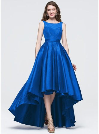 A-Line/Princess Scoop Neck Asymmetrical Taffeta Prom Dress With Bow(s)