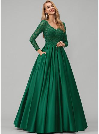 Plesové/Princess V-Výstřihem Délka na zem Satén Plesové šaty S Krajka Zdobení korálky flitry Kapsy