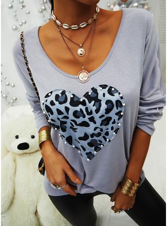Leopard Print V-Neck Long Sleeves Casual T-shirt