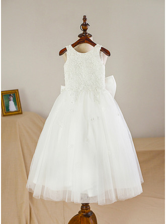 A-Line/Princess Tea-length Flower Girl Dress - Satin/Tulle Sleeveless Scoop Neck With Bow(s)