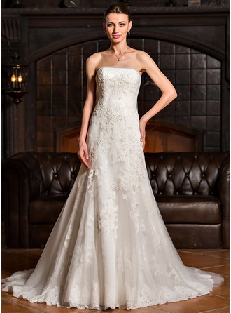 Corte A/Princesa Estrapless Barrer/Cepillo tren Tul Vestido de novia con Los appliques Encaje