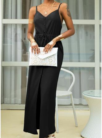 Pevný Do tvaru A Bezrukávů Maxi Neformální Dovolená Typ Módní šaty