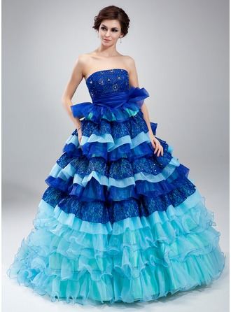 Ball-Gown Strapless Court Train Organza Lace Quinceanera Dress With Beading Cascading Ruffles