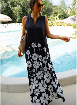 Maxi V neck Cotton Blends Print Sleeveless Fashion Dresses