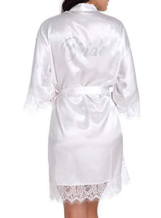 Bride Satin Lace With Short Satin & Lace Robes Rhinestone Robes
