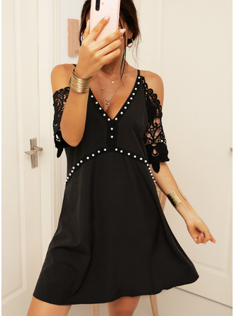 Above Knee V neck Polyester Lace 1/2 Sleeves/Cold Shoulder Sleeve Fashion Dresses
