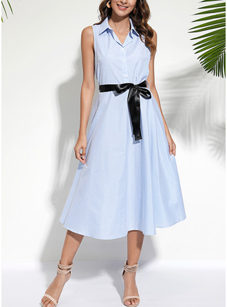 Rand A-linjeklänning Ärmlös Midi Fritids Elegant Skjortklänningar Modeklänningar